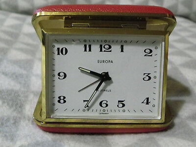 Vintage Europa Wind Up Travel Alarm Clock 2 Jewels Movement GWO Red Case