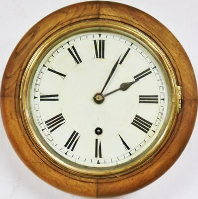 8 Inch Dial W&H Antique English 8Day Oak Surround Dial Station Public Wall Clock