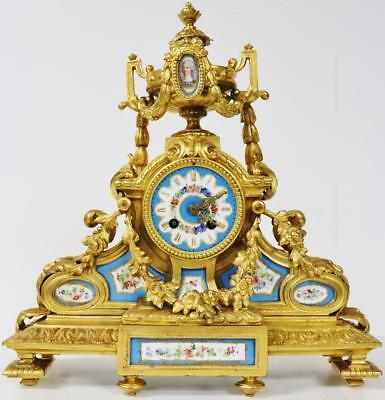 Lovely Antique Gilt Spelter Sevres 8 Day Striking Mantel Clock With Blue Panels