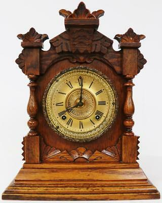 Antique American Ansonia Gong Striking Carved Mahogany 8Day Mantel Bracket Clock