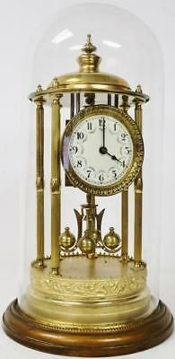 Bandstand Ormolu Torsion 400 Day Anniversary Mantel Clock & Glass Dome By Schatz