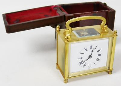 Super Antique French Cubed Rectangle 8 Day Carriage Mantel Clock & Leather case