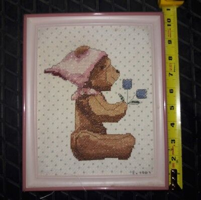 1987 Vintage teddy bear Hand Embroidered Picture Framed Colorful Flowers
