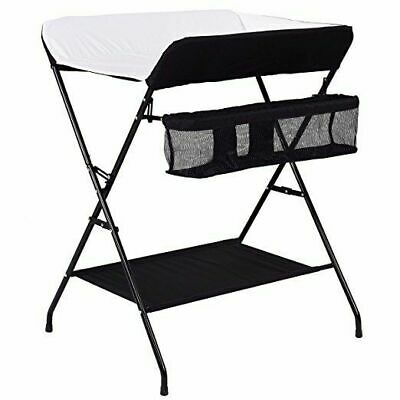 Baby Changing Table, Folding Diaper Station Nursery Organizer for Infant (Black)