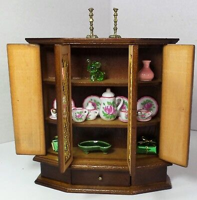 Dollhouse Miniature Vintage China Cabinet with Accessories Lot