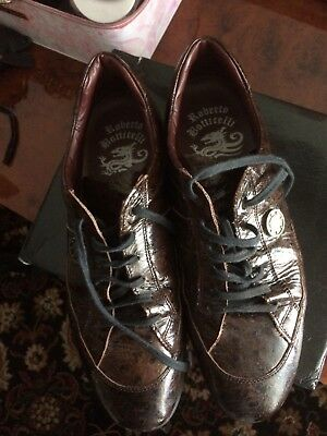Roberto Botticelli shoes colour brown panting leather size 8 very good condition