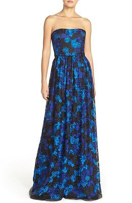 9652de92ae49 NWT DAVID MEISTER Strapless Embroidered Tulle Ballgown Blue Floral [SZ 4]  #M434