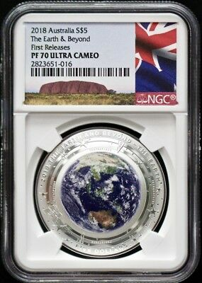 2018 Australia Colored Silver 1 Oz Domed Earth&Beyond NGC PF70 First Releases