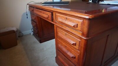 Antique Desk historic piece mahogany leather inlay renovated two sided 3 piece