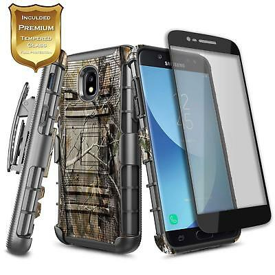... Samsung Galaxy J7 Refine Star J7 2018 Clip Holster Case Cover Tempered Glass