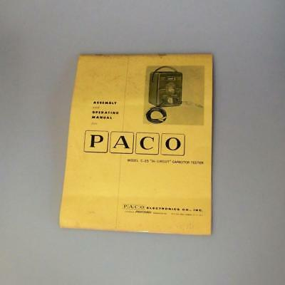 """Paco C-25 """"In - Circuit"""" Capacitor Tester Assembly And Operating Manual"""