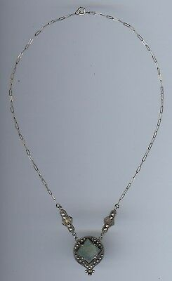 Vintage 1930'S Art Deco Sterling Silver Green Glass Necklace