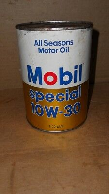 Vintage Mobil Special Motor Oil  Quart Oil Can  Nice Graphics