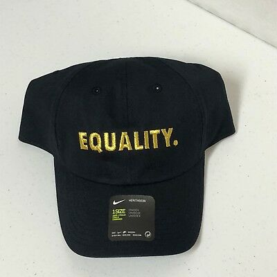 0353adbbbbe Nike H86 Equality Adjustable Hat Black Gold One Size AH6314-010 BRAND NEW