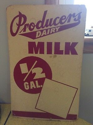 VINTAGE SIGN DAIRY PRODUCERS MILK SIGN 22x14 inch