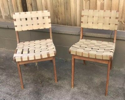 2 original 50s retro vintage Snelling strapping webbing dining chairs