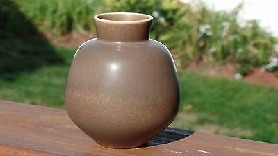 Berndt Friberg Pottery Small Vase Brown Taupe Signed