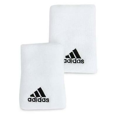 "New adidas ""Ten"" Unisex Large wrist / sweat bands White  tennis/sports/gym"
