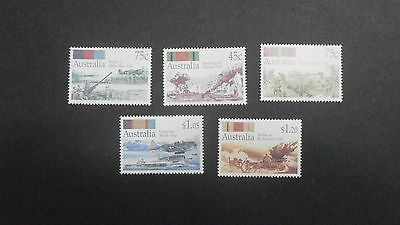 1992 Australia set 5 stamps - World War II Battles - 45c, 75c (2), $1.05 & $1.20