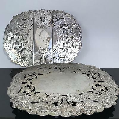 VTG 2pc Wallace & Poole Ornate Silverplate Hot Plate Trivets