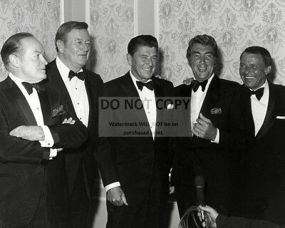 Bob Hope John Wayne Ronald Reagan Dean Martin & Frank Sinatra 8X10 Photo (Cc889)