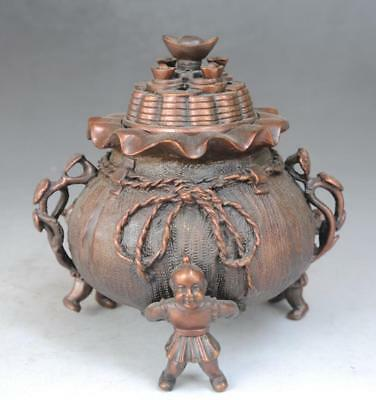 Old Marked Chinese purple Copper Money Bag Boy Gal 3 Foot Incense Burner f02