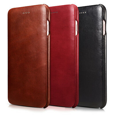 ICARER Curved Edge Vintage Genuine Leather Phone Case for iPhone 6S / 6 4.7 Inch