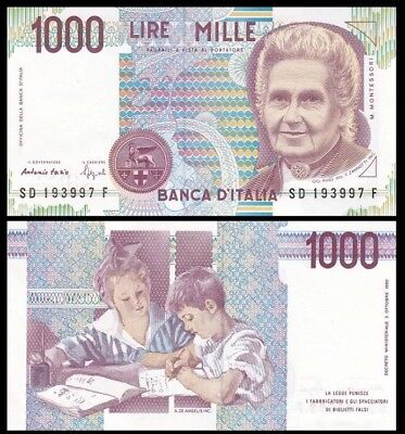 ITALY 1,000 (I000) Lire, 1990, P-114, aUNC World Currency
