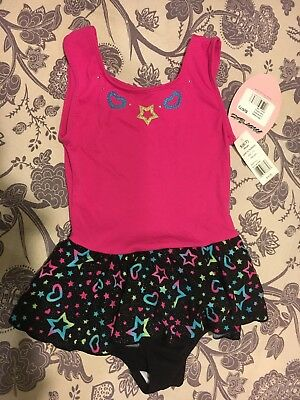 NWT Girls JACQUES MORET Leotard Star Brights Tank Skirtall Black & Pink