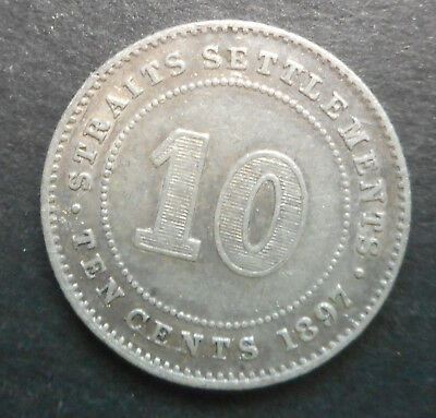 Straits Settlesments  1897  Victoria  Silver  Coin Nice good detail