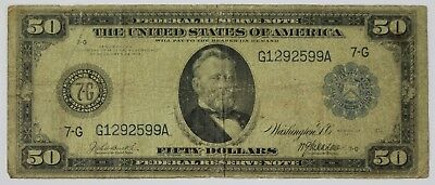 1914 Fifty Dollar Federal Reserve Note Chicago, IL Horseblanket $50 Currency P3R