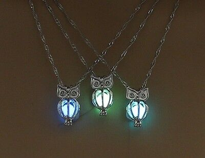 "3/4"" OWL with GLOW IN THE DARK BALL 18"" Pendant Necklace Luminous"