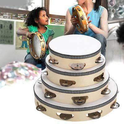 White Wooden Handheld Tambourine Kids Hand Drum with Bells Jingles 6-10 inch