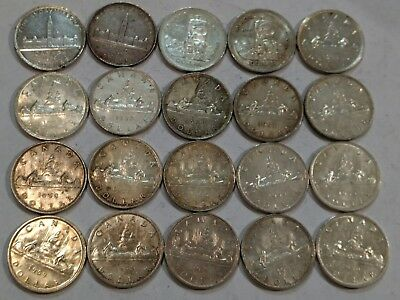 ROLL of 20 circ to AU 1939-1962 CANADA Silver Dollars. 0.6 ozt silver in each.