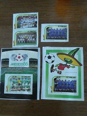 5 x Stamps - St. Vincent - Football World Cup Mexico 1986