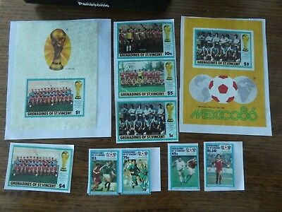10 x Stamps - Grenedines of St. Vincent - Football World Cup Mexico 1986