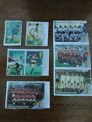 8 x Stamps - Union Island - Football World Cup Mexico 1986