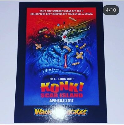 Wacky Packages 2018 Go To The Movies Rare Konk! Scar Island King Kong Sticker