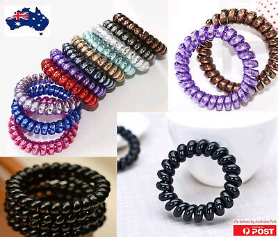 6xWomen Lady Girl Spiral/Bungee/elastic plastic/rubber hair tie telephone line