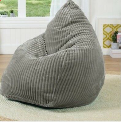 Bean Bag Cover Chunky Cord Silver Grey New Living Space Dual Zip Free Postage
