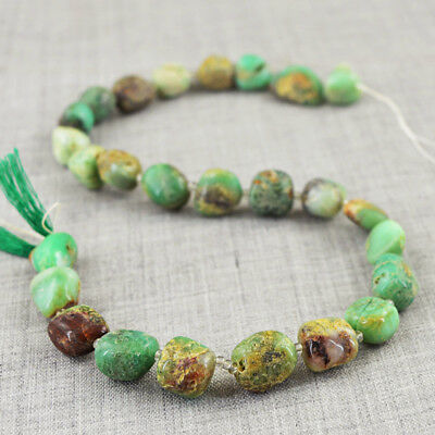 215.00 Cts / 13 Inches Earth Mined Untreated Chrysoprase Drilled Beads Strand