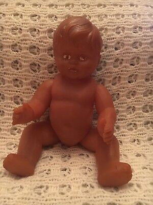 Unusual Rare Rubber Baby Doll Brown Jointed 30cm