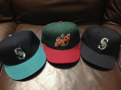 B7 Lot Of 3  New Era Fitted Hat Cap Seattle Sonics Mariners Vtg Diamond 7 1/4