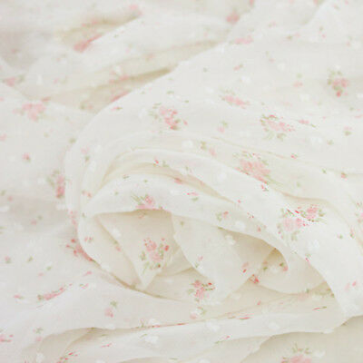 Lace Chiffon Fabric Pink Blue Beige Flower Cherry For Wedding Supplies Veil DIY