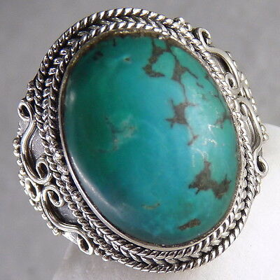 Gemstone STATEMENT SilverSari Ring Size US 7 3/4 Solid 925 Stg Silver/TURQUOISE