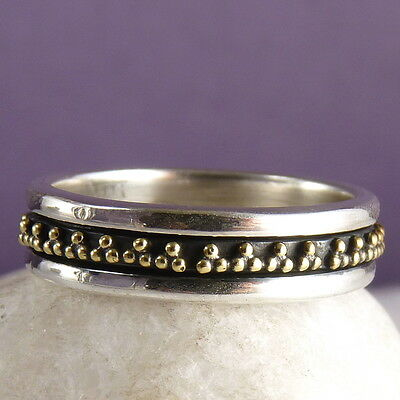 Narrow GRANULE LACE Sz US 6 (M) SilverSari SPINNER RING Solid 925 Silver SPR1054