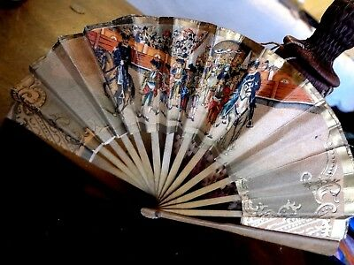 """OLD VINTAGE ANTIQUE SMALL 4.75"""" HAND HELD FAN BULL FIGHT ART WORK w. ADVERTISING"""