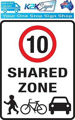Shared Zone Speed Limit 10 Kph Sign  -  Various Sign & Sticker Options  -  10Kph