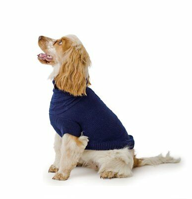 Ancol Muddy Paws Navy Blue Cable Knit Dog Sweater Jumper Coat Jacket