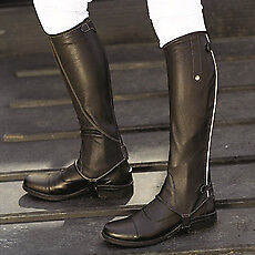 Mark Todd Chaps Patent Piped Leather Tall Black  Small